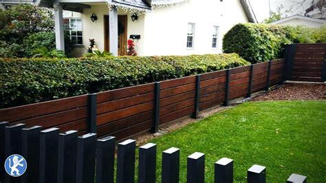 horizontal fence designs redwood  iron mixed horizontal