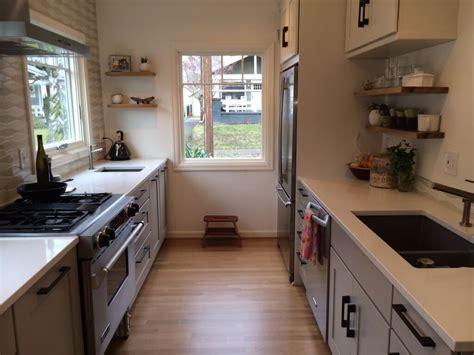 kitchen galley design ideas inspiring small galley kitchen design with woodne flooring