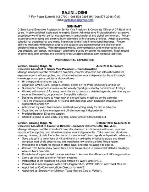 c suite executive assistant resume november 2015