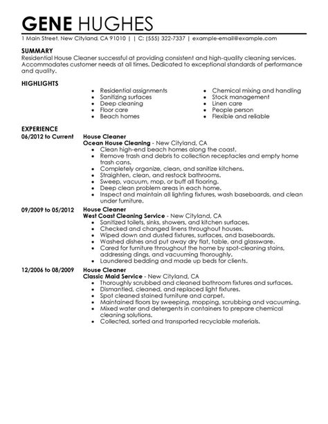 Cleaner Resume Summary by Residential House Cleaner Resume Exle Maintenance