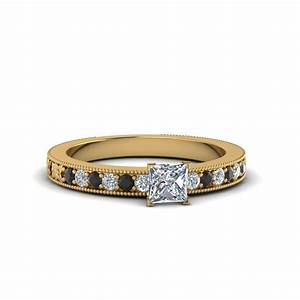 Princess Cut Pave Milgrain Engagement Ring With Black ...