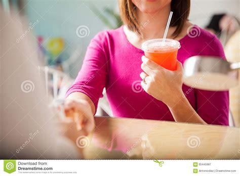 Free Drinks At A Nail Salon Stock Photo