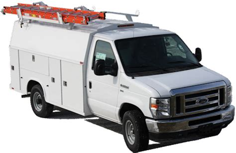 drop  ladder rack  covered service body trucks