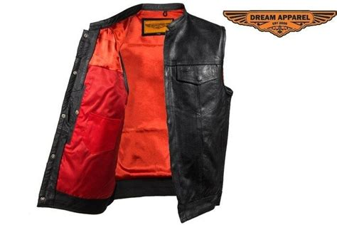 Concealed Carry Leather Outlaw Mc Biker Vest With Red