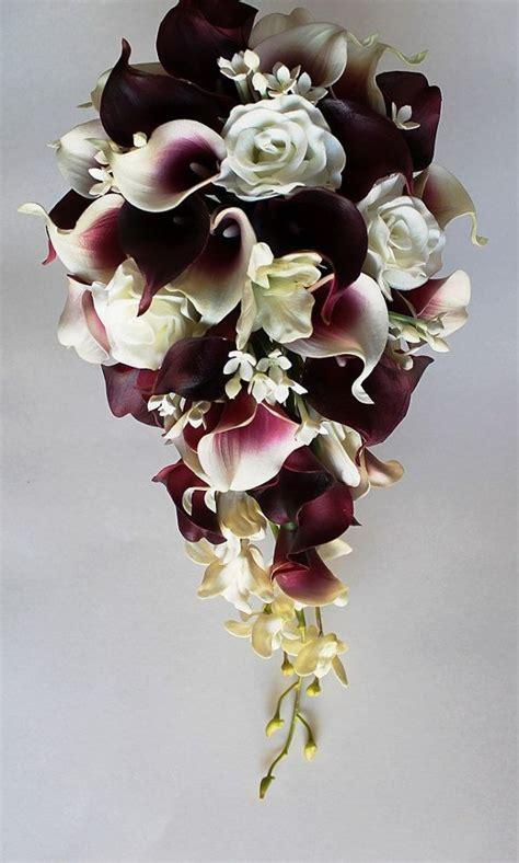cascade wedding calla lily bouquet cramberry bouquet
