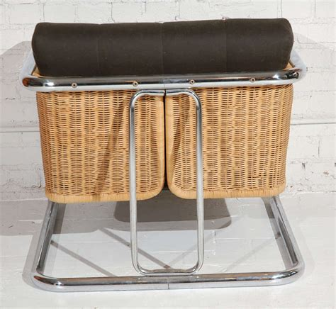 martin visser rattan and chrome lounge chair at 1stdibs