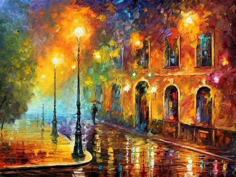 leonid afremov misty city palette knife oil painting