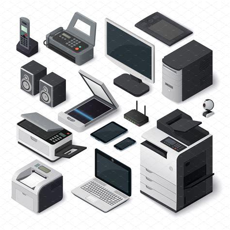Office Desk Equipment by Isometric Office Equipment Vector Illustrations