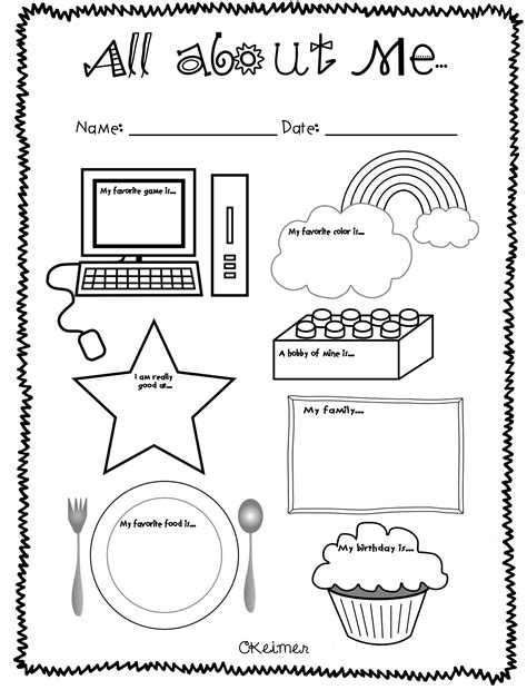 free preschool worksheets all about me them and