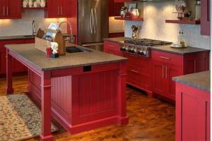 modern shaker cabinetry with red paint and glaze finish With best brand of paint for kitchen cabinets with wall art red