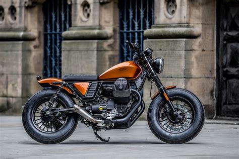 moto strada bespoke v9 custom bobber copper colored