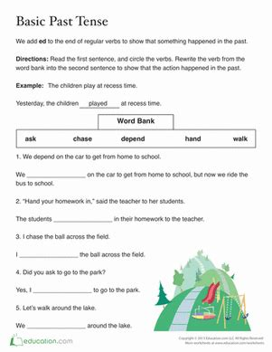 past tense ed worksheet education