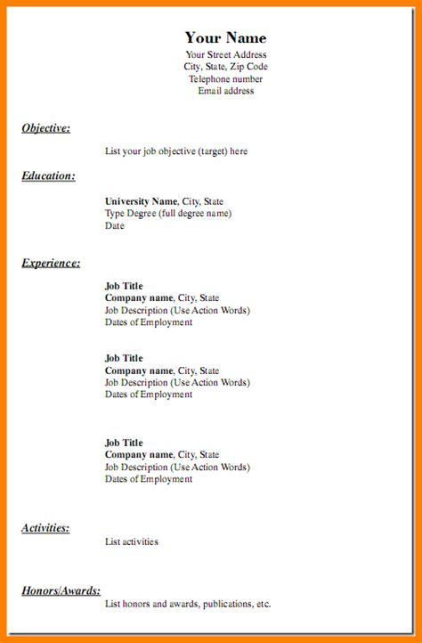 Plain Resume Template by 13 Plain Resume Templates Professional Resume List