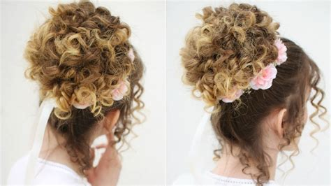 Easy Romantic Curly Bun Updo