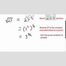 Math Simplifying Radical Expressions Using Rational Exponents 1 Youtube