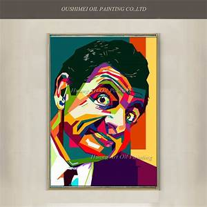 New Hand Painted Famous Man Mr Bean Canvas Abstract ...