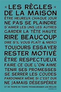 La Maison Du Blanc : affiche adh sive les r gles de la maison bleu vintage ~ Zukunftsfamilie.com Idées de Décoration