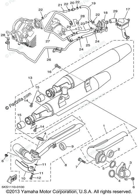 yamaha motorcycle 2002 oem parts diagram for exhaust partzilla com