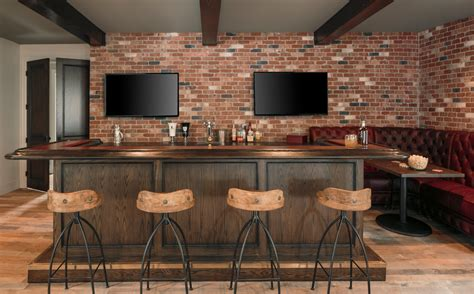 loft staircase ideas industrial bar ideas home bar industrial with brick wall
