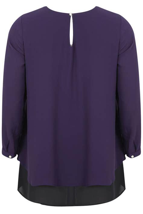 swing blouses purple sleeve layer swing blouse