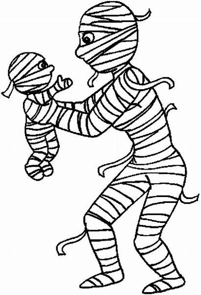 Mummy Coloring Halloween Mummies Pages Printable Cartoon