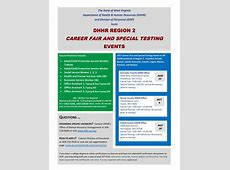 JOBS DHHR Region 2 Career Fair & Special Testing in