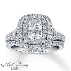 trio wedding ring sets jared jared neil bridal set 2 1 4 ct tw diamonds 14k white gold