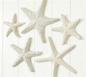 carved wood starfish set pottery barn With starfish wall decor