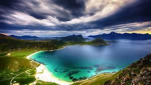 Wallpaper Hd Clouds Bay Lake Mountains Norway