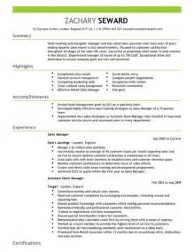 Resume Templates For Project Managers Sales Manager Cv Exle For Sales Livecareer