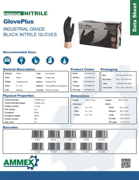 gloveplus black nitrile gloves textured extra thick gpnb  ammex yourglovesourcecom
