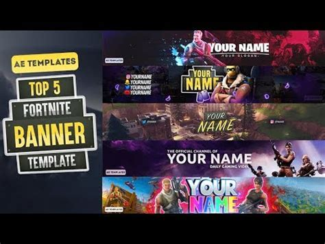 top  fortnite banner template ae templates youtube