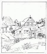 Coloring Cabin Log Colouring sketch template