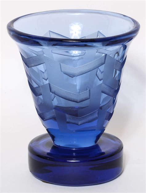 blue glass l base jean luce french art deco etched blue glass vase on