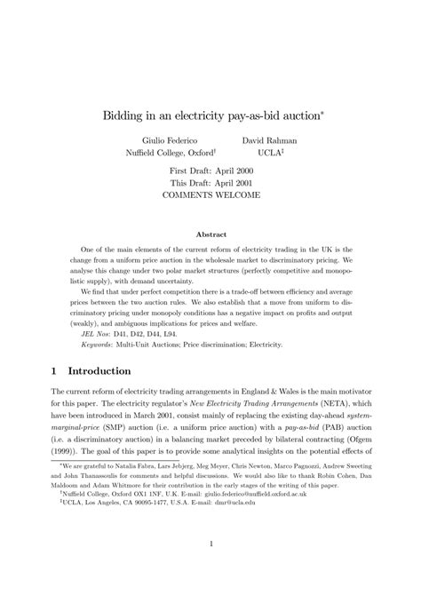 pay to bid auction pdf bidding in an electricity pay as bid auction