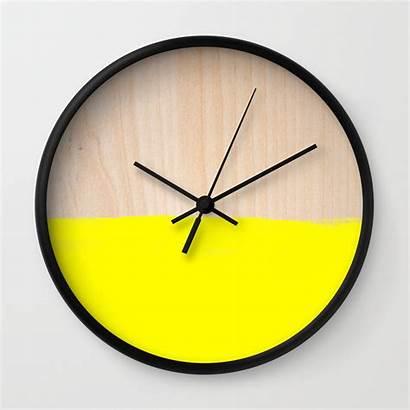 Clock Clocks Yellow Wood Society6 Kitchen Walls