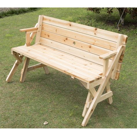 convertible picnic table bench outsunny 2 in 1 convertible picnic table garden bench