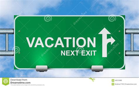 Vacation Next Exit Road Sign Stock Illustration Image