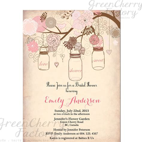 mason jar invitation rustic bridal shower invitation