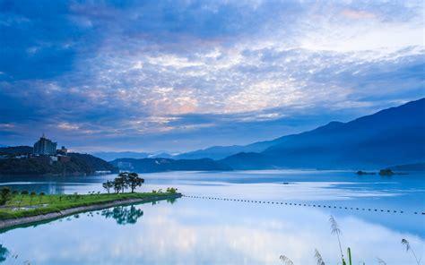Taiwan, Nantou, Morning Sunrise, Mountains, Blue Sky, Lake