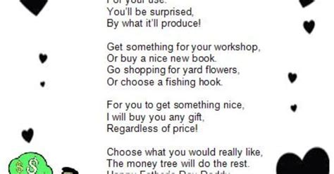 cute fathers day poem titled  money tree fathers