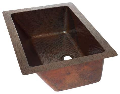 Rectangular Undermount Bathroom Copper Sink-rustic
