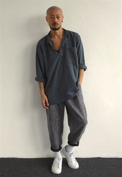 Oversized Crinkly Grandad Shirt & Pleated Cropped Baggy