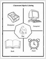 Classroom Objects Coloring Worksheet Englishbix Rules Grade Vocabulary Mooca sketch template