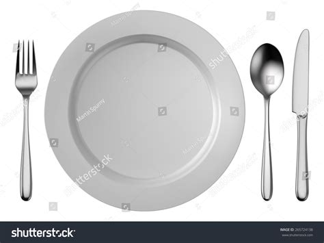 Silver Cutlery Set White Plate Isolated Stock Vector
