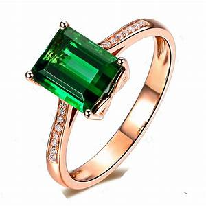 Luxurious 2 carat green emerald and diamond classic for Emerald green wedding ring