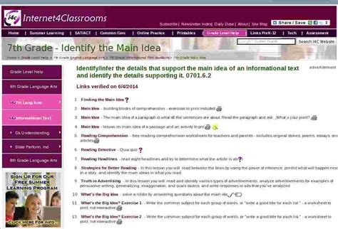 main idea seventh  grade english language arts standard