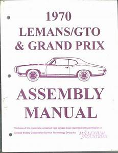 Assembly Manual Pontiac Gto 1967  1969 And 1970