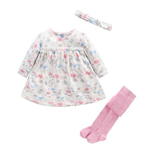 Baby Girl Clothes Set Newborn Girl Baby Dress+ Headband+Pantyhose 3pcs Sets Baby Floral Clothing ...