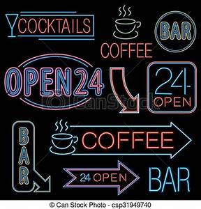neon open sign Neon signs set different neon lights open